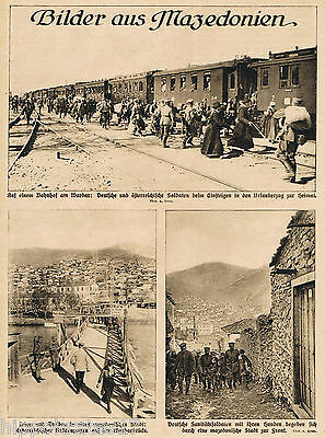 Vardar Wardar Mazedonien Bahnhof 1916 WW1 soldiers station antique print (29)