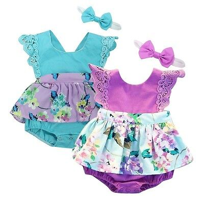 Infant Newborn Baby Girl Floral Romper Bodysuit Jumpsuit Outfits Sunsuit Clothes