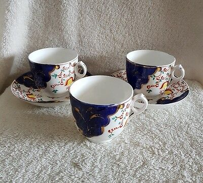 Victorian Gaudy Welsh Tulip Pattern China Cups & Saucers