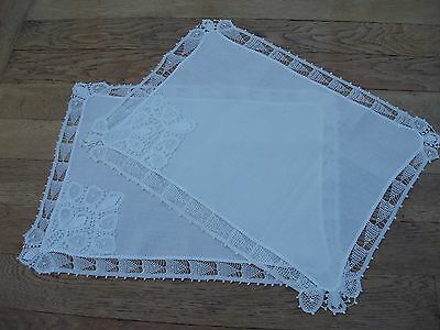 Linen Place Mats white x 2 Wedding Anniversary Gift hand made lace tray cloths.