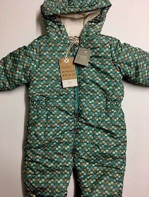 Baby Girl NEW Winter GreenFloral Print Shower Resistant Snowsuit NEXT Age 9-12 M