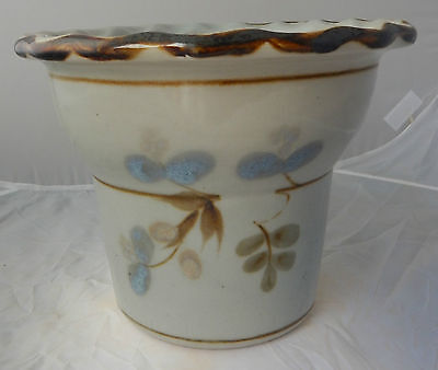 Vintage Highland Stoneware Pot or Planter with Berry Decoration/Celadon?
