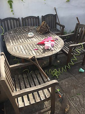 Wooden Teak garden furniture table and 6 chairs (teak. Clifton. Bristol.)