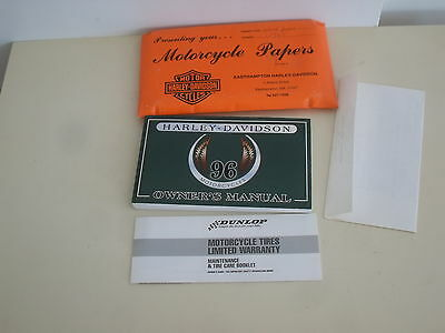 1996 HARLEY DAVIDSON   OWNER'S MANUAL and DELIVERY PACKET