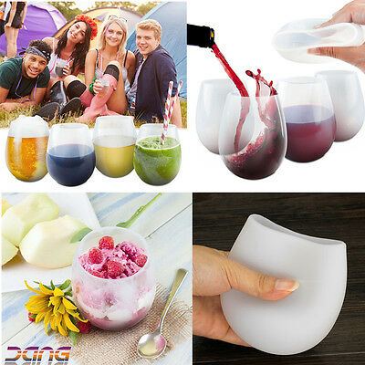 2PCS Silicone Wine Glasses Beer Whiskey Cup Durable Unbreakable Camping BBQ