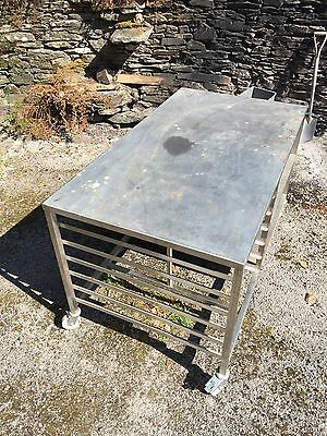 "Stainless Steel Catering Prep Bench Table W/ Shelves 42"" w / 33""h/ 59""L"