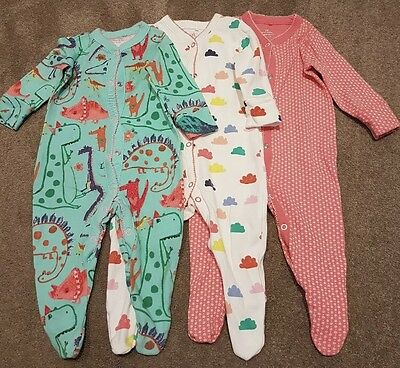Next sleepsuits 3-6 months Teal Dino Dinosaur bundle 3 pack