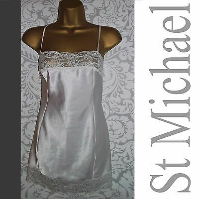 Vtg St Michael Silky Liquid Satin Slip Nightie Negligee Sz 14 12 White Lace Gown