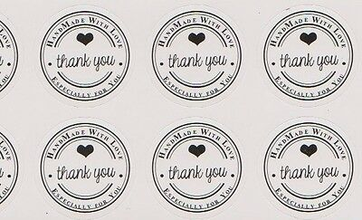 120 x 🖤 stickers Thank you - Hand made with love - Especially for you