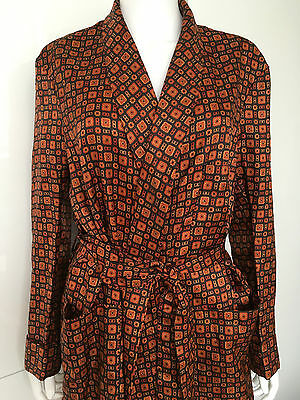 art deco MENS dressing gown 60s 70s 'Derek rose' pattern penigoir  jacket coat M