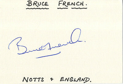 England Test Cricket - Bruce French - Hand Signed Card.