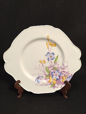 "Vintage Paragon Fine China Handled Plate With Yellow & Blue ""Jasmine"" Design"