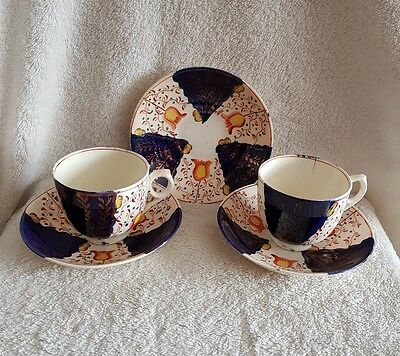 Gaudy Welsh Tulip Pattern Cups & Saucers