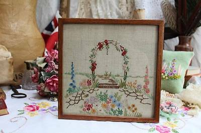 Gorgeous Vintage Embroidered Cottage Garden Arch Framed Picture 24 cm sq
