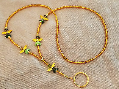 Golden Glass Bead Gold Plated Wing Glass Angel ID Badge Holder Heart Lanyard E