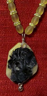 Portuguese Water Dog hand painted on wire wrapped pendant/bead/necklace