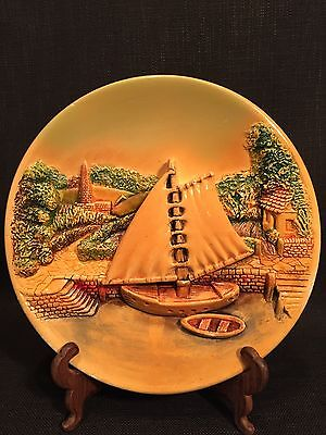 Vintage Retro 3d Relief Plaque Wall Hanging Plate Sailing Boat Dock Scene
