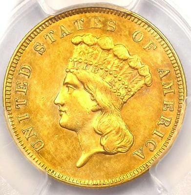 1859 Three Dollar Indian Gold Coin $3 - PCGS Uncirculated (UNC MS) - Rare Date!