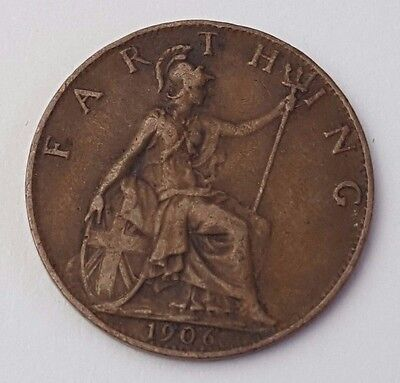 Dated : 1906 - Copper - One Farthing - Coin - King Edward VII - Great Britain