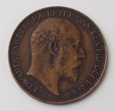 Dated : 1909 - Copper - One Farthing - Coin - King Edward VII - Great Britain
