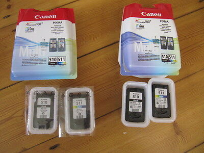 Canon Pixma 2 x PG-510 and 2 x CL-511 Orginal ink cartridges Empty