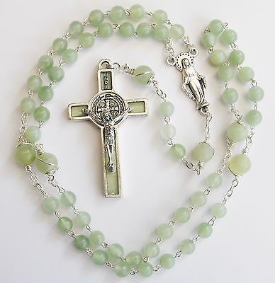 Handmade Natural Jade Rosary with wire detail