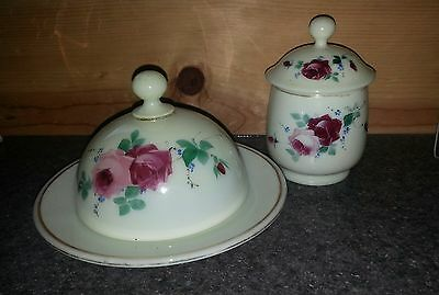 Antique EAPG Custard Glass Butter Dish & Sugar Bowl Hand Painted Roses