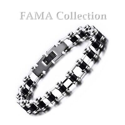 High Quality FAMA 316L Stainless Steel 2Tone Black IP Bike Chain Style Bracelet
