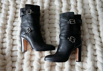 NEW Gianvito Rossi black leather buckle ankle/calf boots size EU 39 / UK 6
