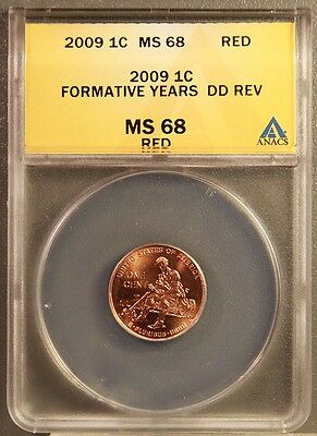 2009 1C Lincoln Cents Formative Years DD Rev ANACS MS68 RED