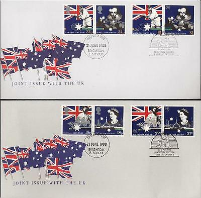 Australia 1988 First Day Cover FDC - Bicentenary Joint Issue with UK - Both
