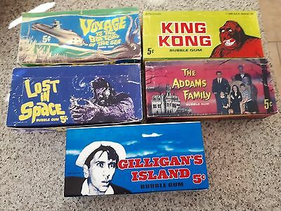 5x 1960's Reproduction Card Boxes - Gilligan, Lost in Space, King Kong, Addams