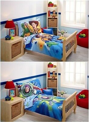 Toy Story 4pc Toddler Bedding Set Reversible Woody or Buzz  New