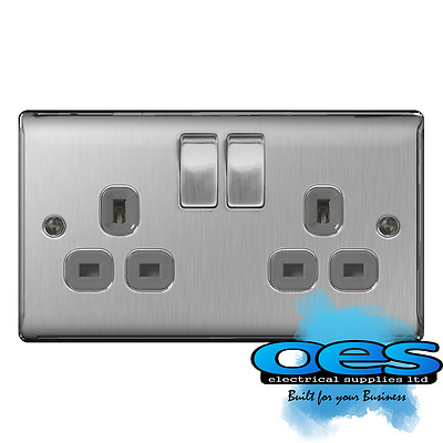 BG Nexus NBS22G Brushed Steel/Satin Chrome 13Amp Double Plug Socket 2 Gang