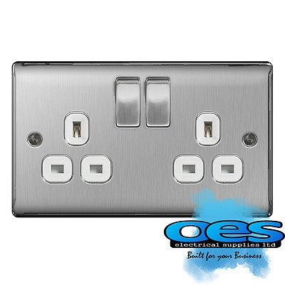 BG Nexus NBS22W Brushed Steel/Satin Chrome 13Amp Double Plug Socket 2 Gang