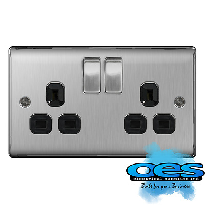 BG Nexus NBS22B Brushed Steel/Satin Chrome 13Amp Double Plug Socket 2 Gang
