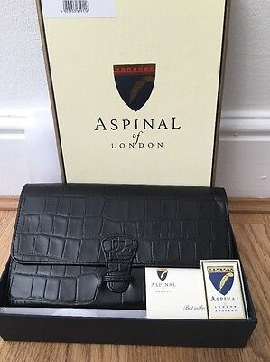 Aspinal of London Classic Travel Wallet. Black Croc Red Suede