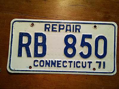 1971 Connecticut ( Repair)  License Plate  * All Original * A Real Beauty