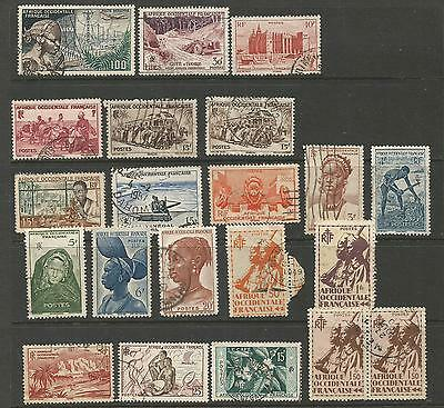 French West Africa  1945-58  Lote De Sellos Usados