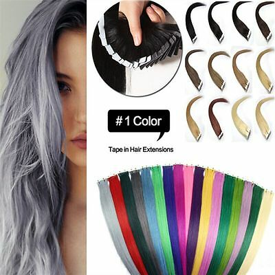 20pcs Tape In Skin Weft 100% Remy Human Hair Extensions 16-26Inch Full Head