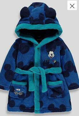 Boys Disney Mickey Mouse Bath Robe/Dressing Gown 18-23 months