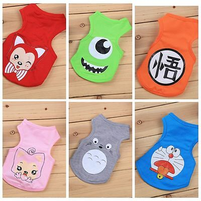Pet Dog Clothes Shirt Vest Hoodie Puppy Cat Cartoon Summer Apparel Costume S-XXL