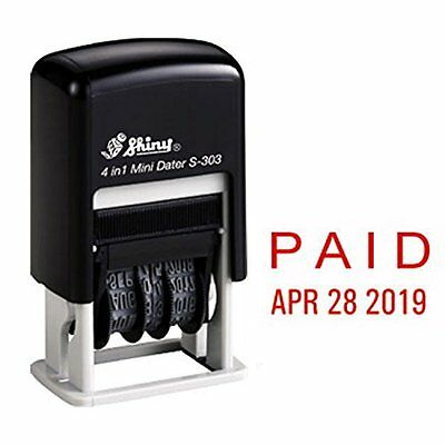 Shiny Self Inking Rubber Date Stamp, PAID, Red Ink (S-303)