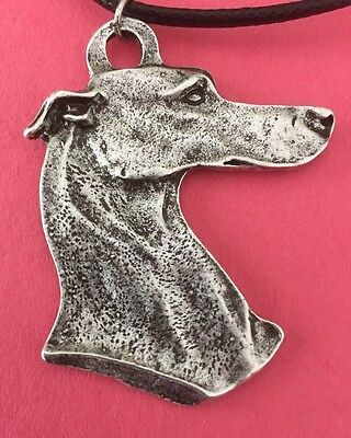 Big Greyhound Dog Head Necklace. Antique Silver.