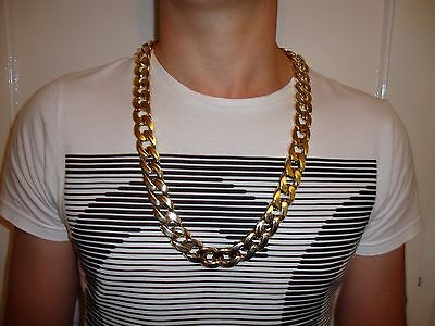 Chunky Fake Gold Chain New Gangster Hip Hop Fancy Dress Pimp Costume