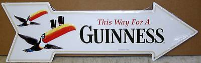 GUINNESS beer arrow metal sign toucan logo this way to a guinness import m-579