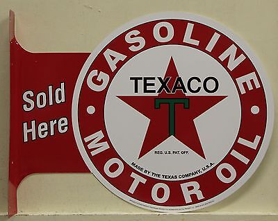 TEXACO Gasoline & Oil Metal Sign double sided flange gas motor oil auto texas