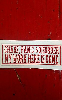 "Hells Angels Canaan Maine Support Sticker, ""chaos, Panic & Disorder"""