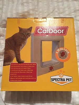 Brand New Cat Flap In Unopened box. 4 Way Lock, For Solid Or Hollow Door
