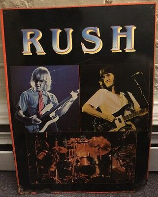 Original Vintage Rush Tin Sign 1982 Antique Poster Geddy Lee Neil Peart Lifeson